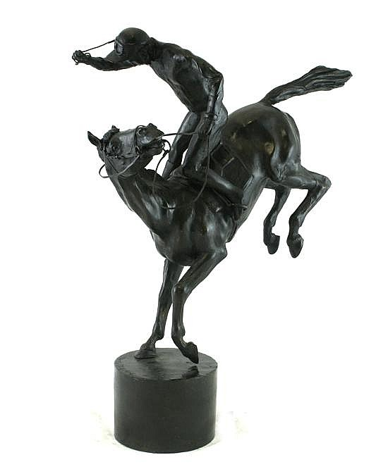 James Osborne (1940-1992), A bronze group of a jockey and rider, 18.75ins