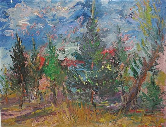 Josep Coll Bardolet (1912-2007) Trees in a landscape, 12.5 x 15.5in.