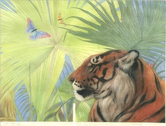 Edward Julian Detmold (1883-1957) The Jungle King 12 x 16.5in.