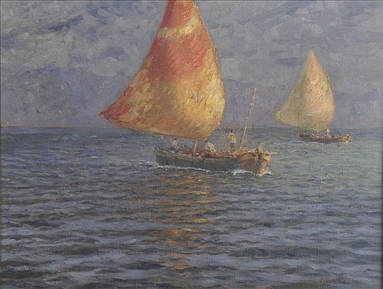 *Ugo Flomiani (Italian 1876 - 1938)   oil of fishing boats
