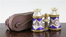 A pair of late Victorian guilloche enamel and mother of pearl brass opera glasses, approximately 4.5in.