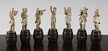 A set of seven Bavarian carved ivory musical figures, 4.25in.