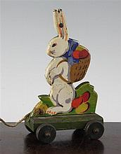 An unusual Steiff painted wood pull-a-long rabbit, 6.75in.