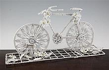 A 20th century French beadwork funeral stand, 19in.