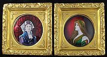 Pierre Bonnaud (1865-1930). A pair of Limoges enamel Art Nouveau circular portrait plaques, both 17cm diam., gilt frames