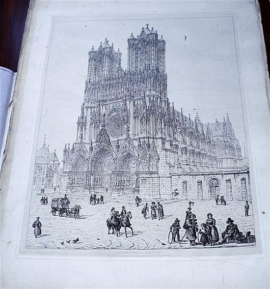 John Coney (1786-1833) Views of French cathedrals 20 x 15.5in.