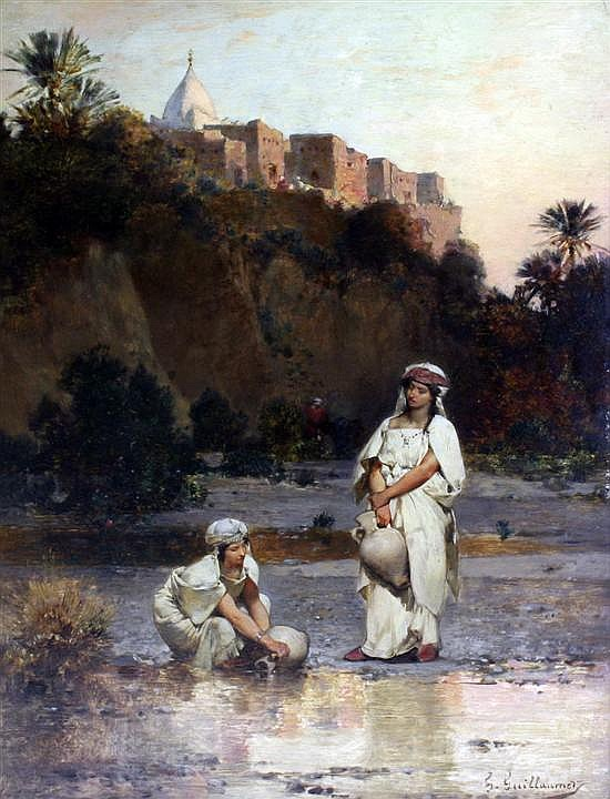 Gustav Achille Guillaumet (French, 1840-1887) The Water Carriers 18 x 13in.