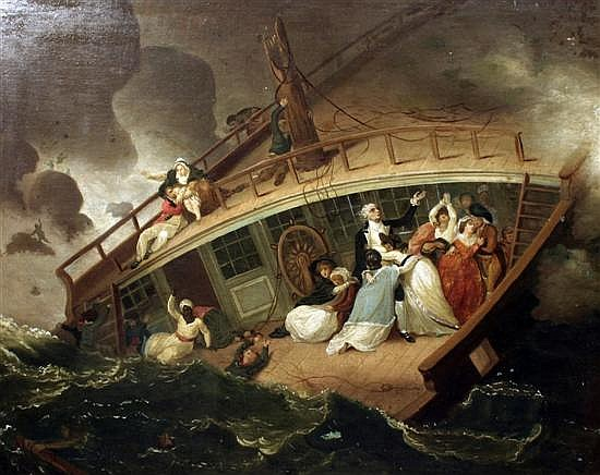 Circle of Robert Smirke (1752-1845) The Halsenell East Indiaman depicted wrecked off Seacombe, Isle of Purbeck, 1786 29 x 38in.