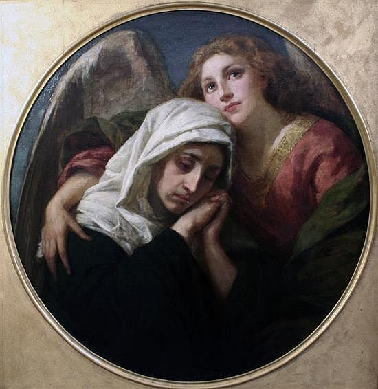 Bernhard Plockhorst (German, 1825-1907) 'The Angel of Consolation' tondo, 35in.