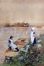 Hector Caffieri (1847-1932) 'Juvenile gossips', 13.5 x 9.75in.