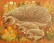 Sheila Flinn (20th C.) Hedgehogs, 8 x 9.5in.