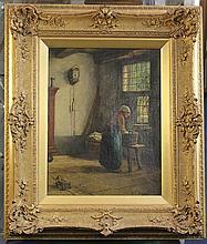 Jacobus Franciscus Brugman (1830-1898) Interior with maid, 15.5 x 12in.