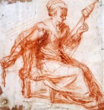 Attributed to Jacopo da Empoli (1554-1640) Clotho 5 x 4.75in.