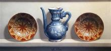§ Frederick Clifford Harrison (1901-1984) Isnik ewer and two Spanish plates 16.5 x 34.5in.