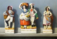 § Frederick Clifford Harrison (1901-1984) Staffordshire figures 16.75 x 24in.