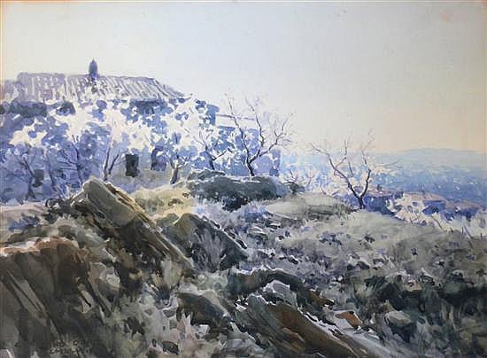 Ceferi Olive Cabre (1907-1995) Spanish Spanish hillside 16.5 x 22.5in.
