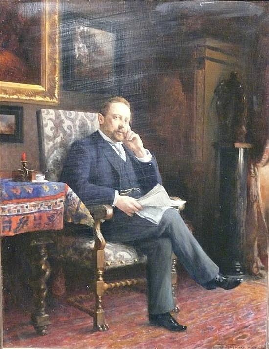 Adalbert Franz Seligmann (1862-1945) Austrian Portrait of a seated gentleman 19 x 14.5in.