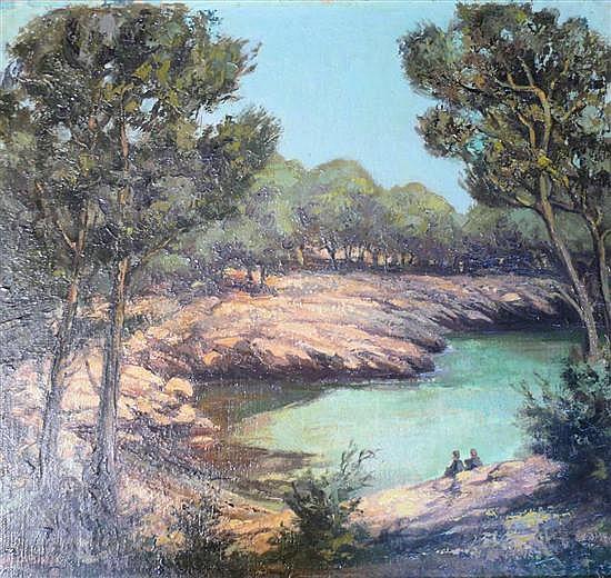Ian Campbell (1902-84) 'Cala Esmarelda, S.E.Majorca' 18 x 20in.