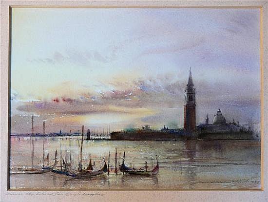 Ian Armour-Chelu (1928-2000) Dawn Sky behind San Giorgio Maggiore 7.5 x 10.5in.