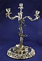 A 20th century silver plated three branch four light candelabrum, 14.5in