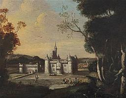 Manner of Peter Tillemans (1684-1734) Wooded landscape with chateau and horse riders, 7.25 x 9in.