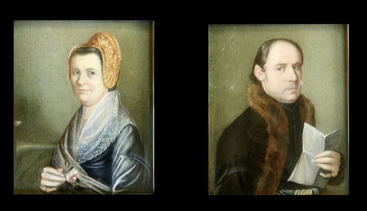 *August Alexius Canzi (1808-1866) Swiss Miniatures of a gentleman and his wife c1890 4 x 3ins