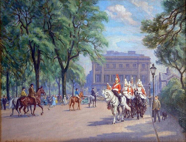 Conrad Heighton Leigh (1883-?) Horseguards Parade 13.5 x 17.5in.