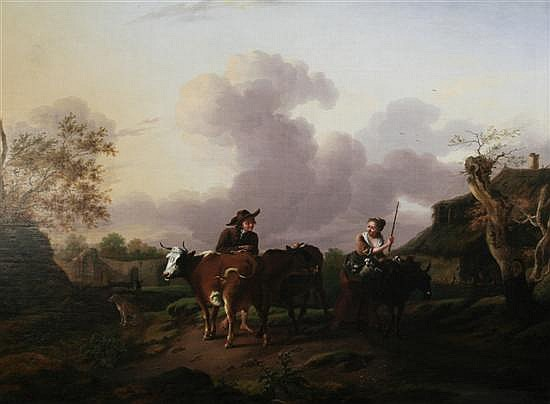 Attributed to Charles Towne (1781-1854) Pastoral scene with figures, lambs, cattle and a donkey 27.5 x 34.5in.