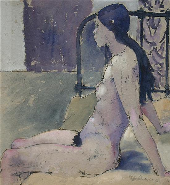 Fyffe Christie (1918-1979) Girl on a bed 11 x 11in.