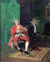 Bernard Louis Borione (1865-?) Interior with gentleman playing a mandolin, 10.75 x 8.5in.