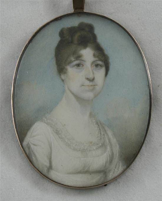 Attributed to Edward Nash (1778-1821) Miniature of a lady with clouds beyond, 2.5 x 2in.