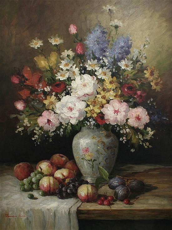 James Lisa Still life of flowers in a vase and fruit on a table, 40 x 30in.
