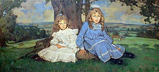 William Dacres Adams (1864-1951) Two sisters in a landscape, 27.5 x 57in.
