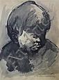 Sir Kyffin Williams (1918-2006) Head study of a boy, 15.5 x 12.25in.