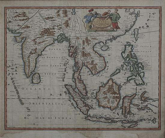 John Speed (1542-1629) A New Map of East India, 1676, 15 x 19.75in.