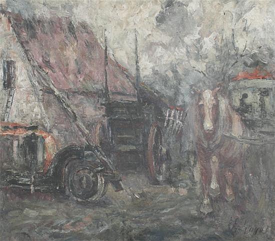 Felix Gogo (Belgian 1872-1953) Horse cart in a farmyard, 15.5 x 18in.