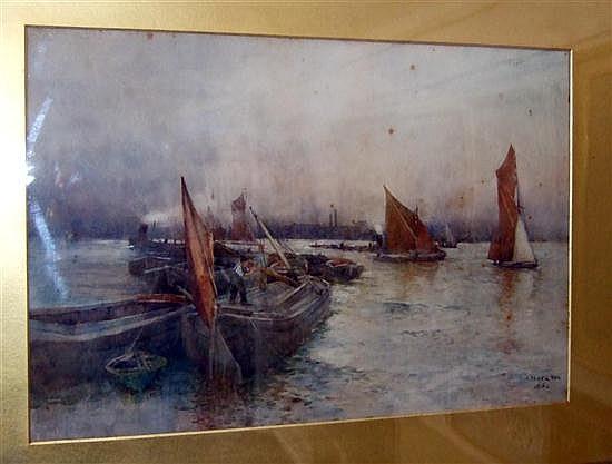 Arthur Legge (1859-1942) Shipping in harbour, 13 x 19.5in.