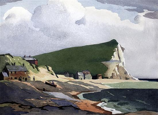 Eric Slater (1896-?) Seaford Head, Sussex, 10 x 14in.