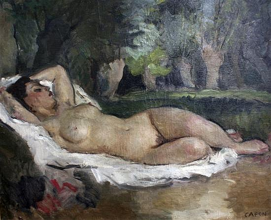 Georges Emile Capon (French, 1890-1980) Nu couche en plein air, 23.5 x 29in.