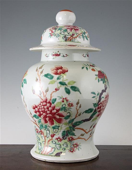 A Chinese famille rose baluster vase and cover