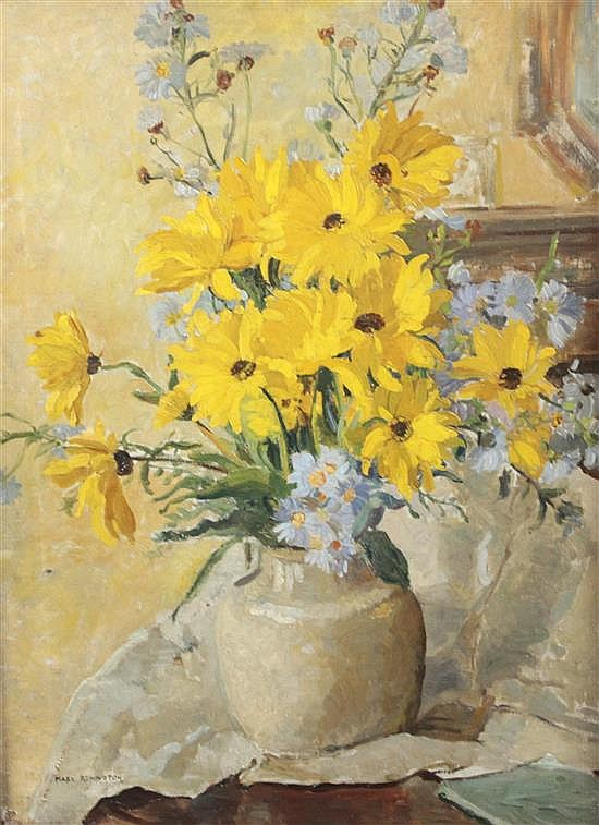 Mary Remington (1910-) Still life of flowers in a pottery vase, 24 x 18in.
