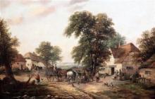 Georgina Lara (fl.1862-1871) Villagers beside a duck pond 14 x 21in.