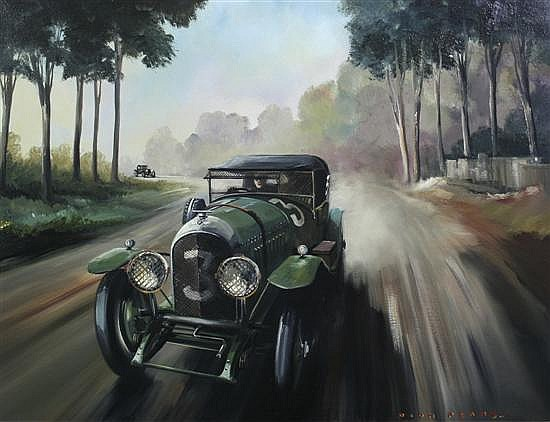 Dion Pears (fl.1950-68) 'Winning 3 Litre Bentley - 1st Lap Le Mans 1927', 28 x 36in.