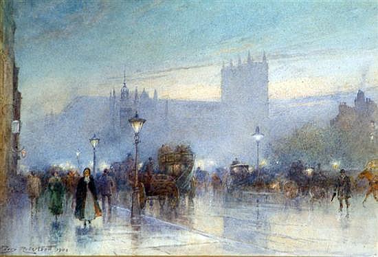 Percy Robertson (1868-?) Evening on Westminster Bridge 7 x 10.5in.