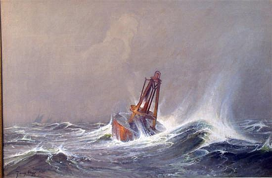 Harry Kluge (1879-1963) Dutch Buoy at sea 21 x 31in.