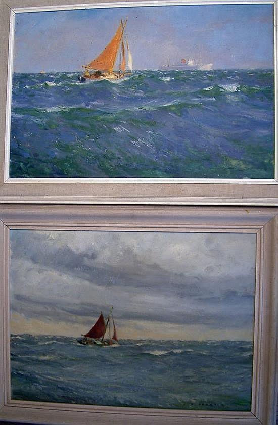 Frederick Bertrand Harnack (1897-1983) 'Sunrise at Sea'  &  'A Thresh to Windward' 20 x 30in.  &  20 x 27in.