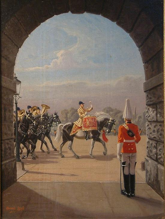 Conrad Heighton Leigh (1883-?) Trooping the Colour 23 x 17in.