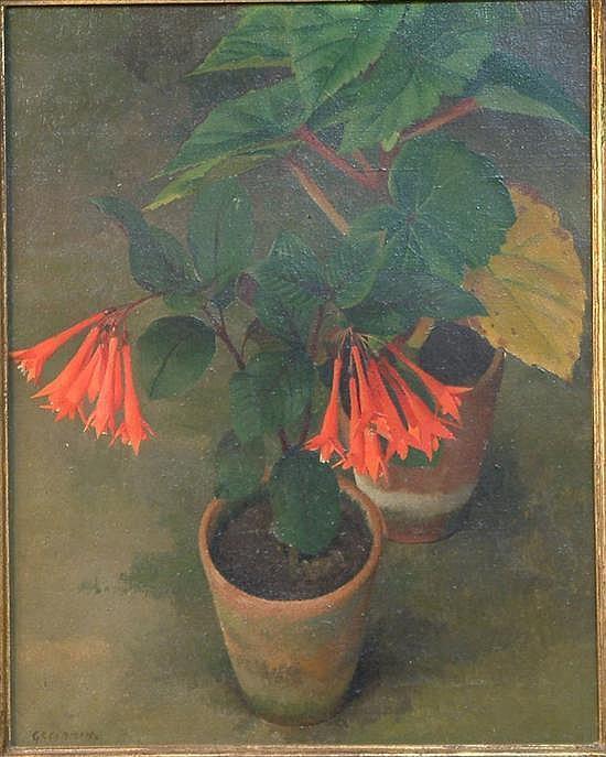 Frances Cranmer Greenman (1890-1982) Fuschia in a terracotta pot 20 x 16in.