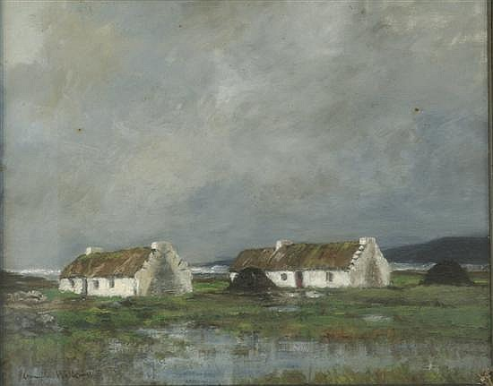 John Crampton Walker (1890-1942) Irish Connemara Cottages 16 x 20in.