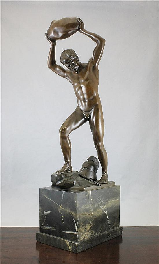Otto Schmidt-Hofer (1873-1925), A bronze figure entitled 'The Enemy Below', 30.5ins